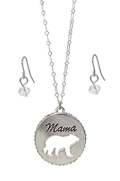 MAMA BEAR THEME PENDANT NECKLACE SET