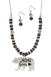MAMA BEAR THEME MULTI MIX BEAD NECKLACE SET