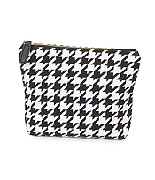 HOUNDSTOOTH POUCH COSMETIC BAG - 100% POLYESTER