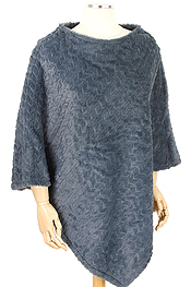TEXTURED FAUX FUR PONCHO - 100% POLYESTER