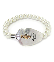 RELIGIOUS INSPIRATION SPOON HEAD AND PEARL STRETCH BRACELET - AMAZING GRACE