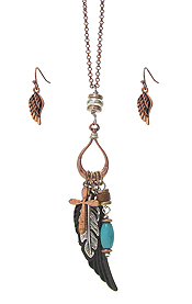 CROSS FEATHER WING MIX PENDANT NECKLACE SET