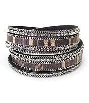 CRYSTAL AND LEATHER DOUBLE WRAP MAGNETIC BRACELET
