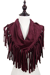 SUEDE TASSEL TUBE INFINITY SCARF - 100% POLYESTER