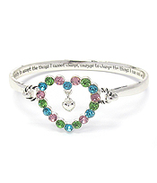 MESSAGE INSIDE HEART BANGLE BRACELET - SERENITY PRAYER