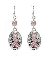 PINK RIBBON OVAL DROP EARRING