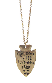 INSPIRATION MESSAGE ON ARROWHEAD PENDANT NECKLACE