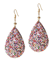 GLITTERING TEARDROP LEATHER EARRING