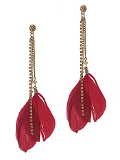 FEATHER AND RHINESTONE DROP EARRING
