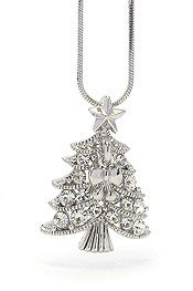 WHITEGOLD PLATING CRYSTAL CHRISTMAS TREE NECKLACE