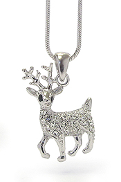 WHITEGOLD PLATING CRYSTAL DECO DEER NECKLACE
