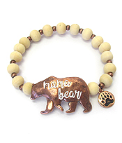 MAMA BEAR INSPIRATION WOOD STRETCH BRACELET