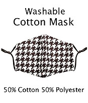 HOUNDTOOTH WASHABLE FACE MASK WITH FILTER INTERLAYER AND ADJUSTABLE LENGTH -FILTER NOT INCLUDED