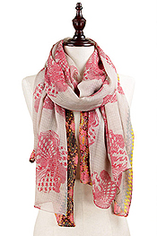 ROSE PRINT SCARF - 100% POLYESTER
