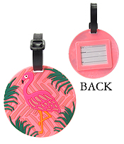 LARGE RUBBER LUGGAGE TAG - FLAMINGO