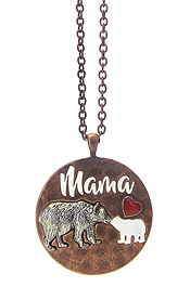 MAMA BEAR INSPIRATION PENDANT LONG NECKLACE