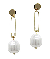 FRESH WATER PEARL AND SAFETY PIN DROP EARRING
