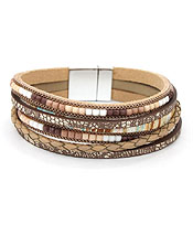 MULTI LAYER FAUX LEATHER AND SEED BEAD MAGNETIC BRACELET