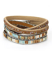 DOUBLE WRAP FAUX LEATHER MAGNETIC BRACELET