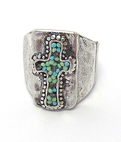 SEEDBEAD CROSS STRETCH RING