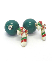 CHRISTMAS STICK DOUBLE SIDED EARRING