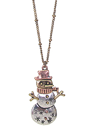 CHRISTMAS THEME SNOWMAN PENDANT NECKLACE SET