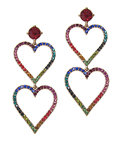 CRYSTAL DOUBLE HEART DROP PARTY EARRING