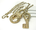 3 INCH LONG LARGE KEY AND LOCK PENDANT LONG NECKLACE