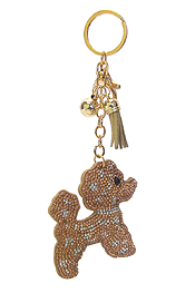 MULTI CRYSTAL LARGE PUFFY CUSHION KEY CHAIN - DOG
