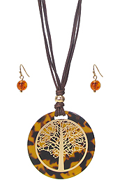 ORGANIC CELLULOSE TREE OF LIFE PENDANT NECKLACE SET