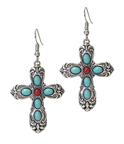 ANTIQUE METAL CROSS EARRING- TURQUOISE