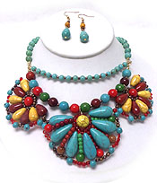 TURQUOISE STONE AND MULTI STONE FLOWER NECKLACE SET