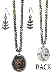INSPIRATION MESSAGE BACK CRYSTAL PENDANT AND GLASS BEAD CHAIN NECKLACE SET - LEAF