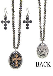 INSPIRATION MESSAGE BACK CRYSTAL PENDANT AND GLASS BEAD CHAIN NECKLACE SET - CROSS