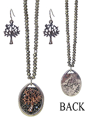 INSPIRATION MESSAGE BACK CRYSTAL PENDANT AND GLASS BEAD CHAIN NECKLACE SET - TREE OF LIFE