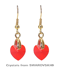 GENUINE SWAROVSKI CRYSTAL SEMPLICE HEART EARRING - HANDCRAFTED IN THE USA