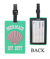 LARGE RUBBER LUGGAGE TAG - MERMAID OFF DUTY
