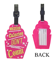 LARGE RUBBER LUGGAGE TAG - CUP CAKE - VACATION CALORIES DON'T COUNT