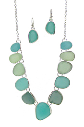 MULTI COLOR MIX SEA GLASS LINK NECKLACE SET