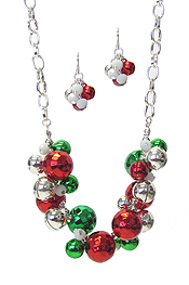 CHRISTMAS THEME MULTI BELL DANGLE NECKLACE SET