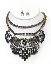 MULTI CRYSTAL DOUBLE LAYER NECKLACE SET