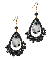 ANIMAL PRINT DISK AND BEADS  TEARDROP EARRING