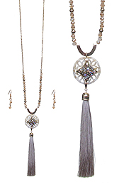 CELLULOSE FILIGREE DISC AND LONG THREAD TASSEL DROP NECKLACE SET