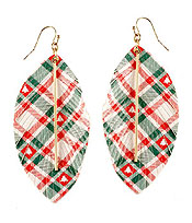 CHRISTMAS THEME FRINGE LEATHERETTE EARRING - TREE