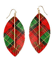 CHRISTMAS THEME FRINGE LEATHERETTE EARRING - PLAID