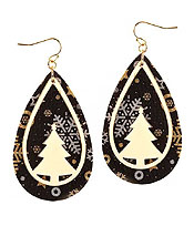 CHRISTMAS THEME TEARDROP LEATHERETTE EARRING - TREE