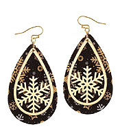 CHRISTMAS THEME TEARDROP LEATHERETTE EARRING - SNOWFLAKE