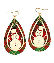CHRISTMAS THEME TEARDROP LEATHERETTE EARRING - SNOWMAN