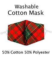 PLAID PATTERN WASHABLE FACE MASK WITH FILTER INTERLAYER AND ADJUSTABLE LENGTH -FILTER NOT INCLUDED
