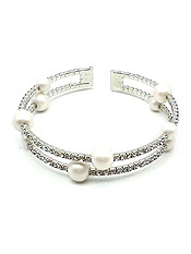 PEARL AND RHINESTONE WEDDING OR PARTY COIL BRACELET